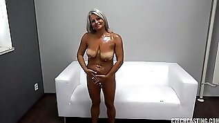 Oiled up and shaved gilf gets her brains fucked out