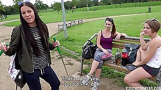 Three Drunk Girls Share Dick In Public point of view