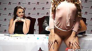 Milf in high heels is on her knees to suck big cock in DP star contest