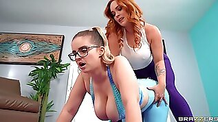 Nude chubby chick shares wonderful lesbian moments with thick ass MILF