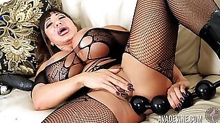 Legend of adult videos Ava Devine is stretching anal hole with different sex toys