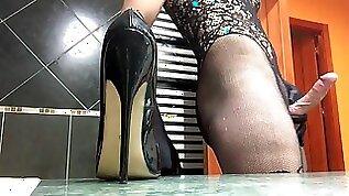 Bondex Jizz over fetish high heeled shoes bodystocking