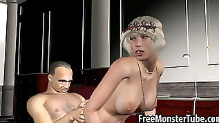 Classy 3D cartoon blonde gets spotted and fucked by a mobster