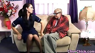 Euro nurse tends to an old cock in need