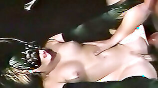Captivating hot white milf in the mask fucked on the table