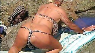 Exotic Japanese model in Crazy Blonde Beach JAV scene