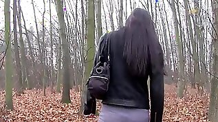 Nerd slut fucked and facialed in the woods for a wad of cash