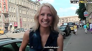 Blonde was fucked on the fresh air for cash