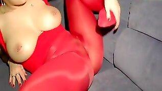 Cameltoe in meiner roten Glanzlegging