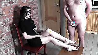 Jerk off in front of girl with cum on her feet CFNM