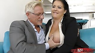 Old Pervert Still Loves Huge Tits!