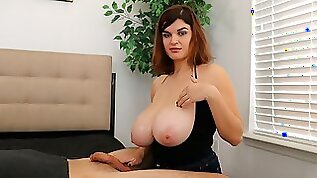 Very cute busty BBW Jenni Noble performs an awesome handjob