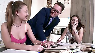 Naughty Sofy Torn and one more girl lure the tutor for MFF threesome