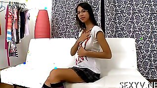 Busty schoolgirl with glasses sucks on dick fucks first time