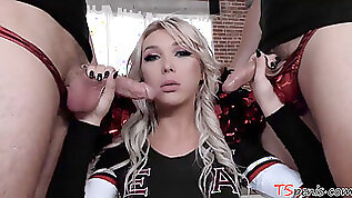 Transsexual cheerleader Aubrey Kate double screwed