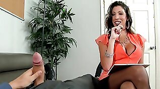 Dava Foxx fucks her big dicked client gets a load of cum on her face
