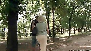 Grandma and boy making hot love