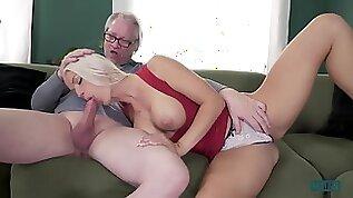 Blanche Bradburry the Horny Blonde Slut with her Big Tits Sucks with Enthusiasm Grandpa Hans Dick!