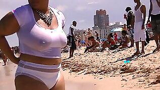 South Beach Ebony Swimming in See Through T Shirt