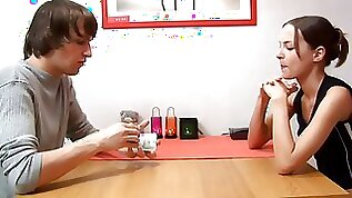 Skinny blonde teen chick plays strip card game with brother