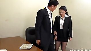 Boss gets his dick sucked by his horny secretary and cums in her mouth