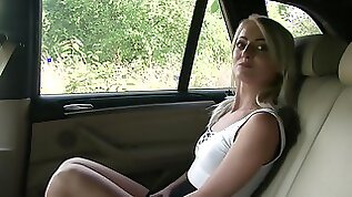 Katy Rose pays her ride with a car fuck gets her ass nutted