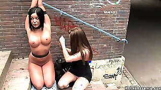 Gagged busty slave fucked in public park harmony rose