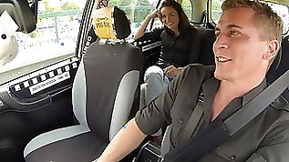 Multiple female orgasm in czech taxi backseat