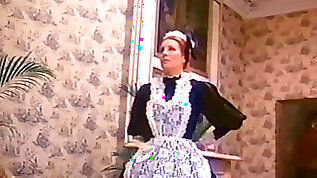 Sexy maid strips for her master and gets her hairy pussy and ass fucked