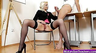 Lady blondie strokes his cock