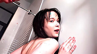 Slim brunette Sweetie Plum receives a face full of cum from roommate