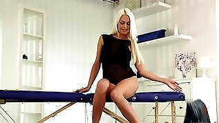 A lovely blonde teases her clit in front of us in the solo man porn video