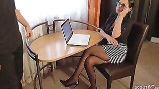 GERMAN MILF BOSS IN SEXY LINGERIE SEDUCE TEEN WORKER TO ANAL