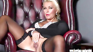 Horny Milf finger fucks her tight humid cootchie in nylons after tryst night