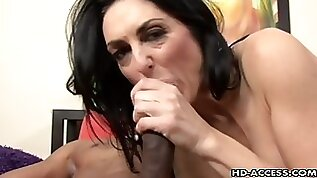 Mature brunette pornstar with a big black cock stud bang hardcore