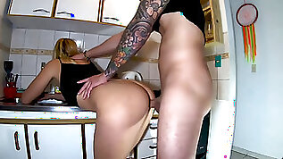 Stepsister blond ass fucking in the kitchen