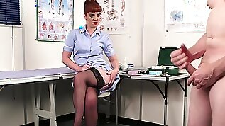 Red haired nurse Zoe Page watches male client jerking off