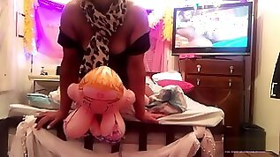 Angel falls in LOVE to bang with her blow up doll girlfriend as she fucks her bare