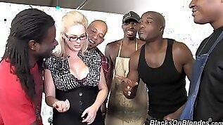 Naughty blonde MILF sucks fucks multiple black cocks