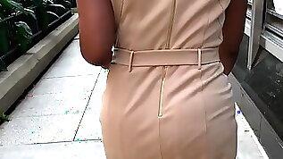 Nice booty granny in khaki dress