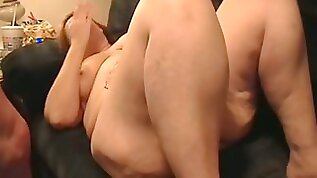 Mature BBW sucks my dick before taking it in her shaved snatch