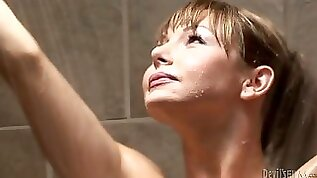Gorgeous shemale MILF blows penis of her hungry man