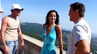 Cute Angel gets threesomed at the Budapest vacation