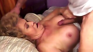Horny Grandma Gives Titjob And Fucks