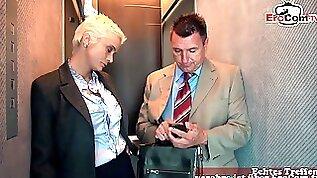German big tits blonde secretary get anal fuck in lift