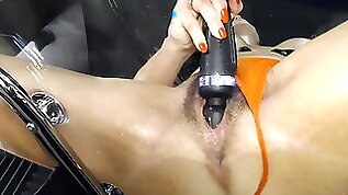 Milf wife with ring on fucks wet leaking hairy pussy