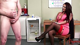 Rara Curves enjoys watching her colleague stroke his pecker