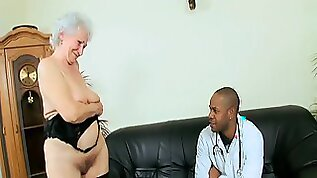 Granny with big ass riding black huge cock