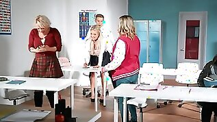 Naughty blonde student seduces modest teacher during lesson