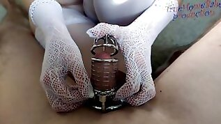 Chastity cage femdom domination by White Goddess Sanja